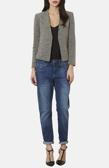 Alternate Image 4  - Topshop 'Bonnie' Collarless Textured Blazer (Petite)