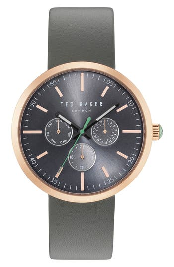 Jack Multifunction Leather Strap Watch, 40mm by Ted Baker London