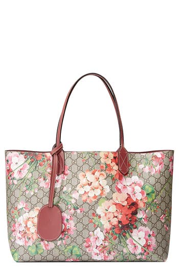 Gucci Medium Gg Blooms Reversible Canvas Amp Leather Tote
