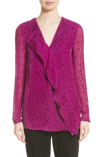 St. John Collection Velvet Polka Dot Asymmetrical Blouse