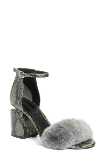 Alexander Wang Abby Genuine Rabbit Fur & Snakeskin Sandal (Women)