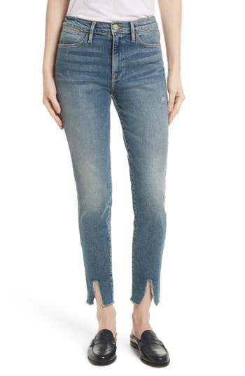 FRAME Raw Hem High Waist Skinny Jeans (Beckett)