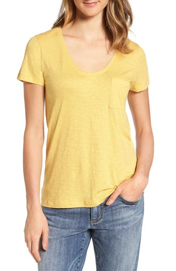 Caslon® Rounded V-Neck Tee (R..
