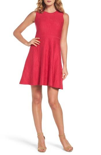 Eliza J Texture Knit Fit & Flare Dress