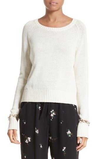 A.L.C. Dree Embellished Cuff Cotton Sweater