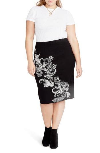 RACHEL Rachel Roy Paisley Knit Pencil Skirt (Plus Size)