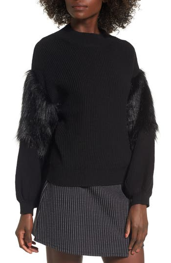 Leith Faux Fur Sleeve Swea..