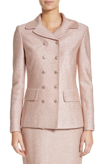 St. John Collection Double Breasted Frosted Metallic Knit Jacket