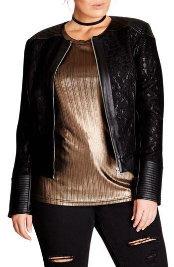 City Chic Wild Heart Faux Leather Jacket (Plus Size)
