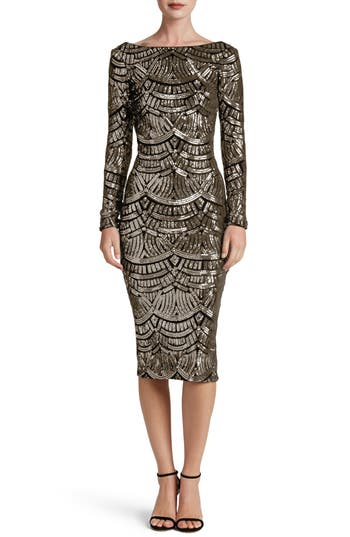 Dress the Population Emery Scoop Back Sequin Midi Dress