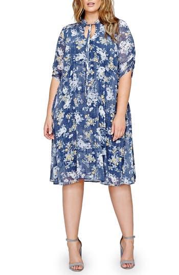 Michel Studio Tie Neck Floral Shift Dress (Plus Size)