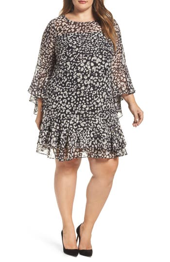 Eliza J Bell Sleeve Animal Print Shift Dress (Plus Size)
