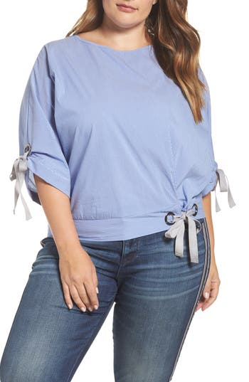 ELVI Grommet Ties Stripe Top (Plus Size)