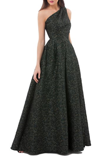 Carmen Marc Valvo Infusion Metallic Brocade One-Shoulder Gown