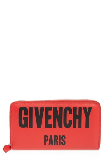 Givenchy Logo Print Zip Around Leather Wallet