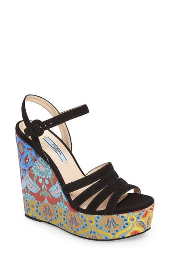 Prada Floral Platform Wedge Sandal (Women)