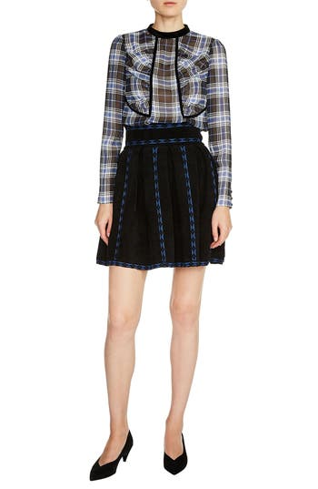 maje Jacquard Flare Skirt