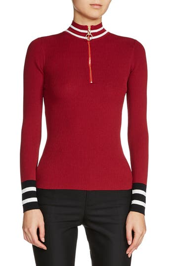 maje Zip Neck Ribbed Sweat..