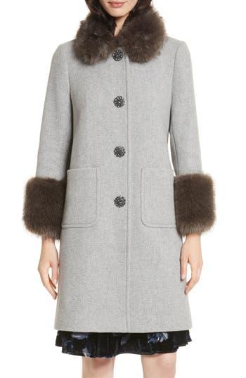 kate spade new york faux fur trim coat