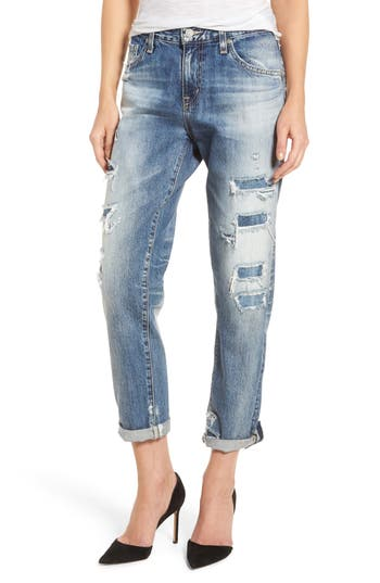 AG Ex Boyfriend Slim Jeans (19 Years Quilted Blue Mended)