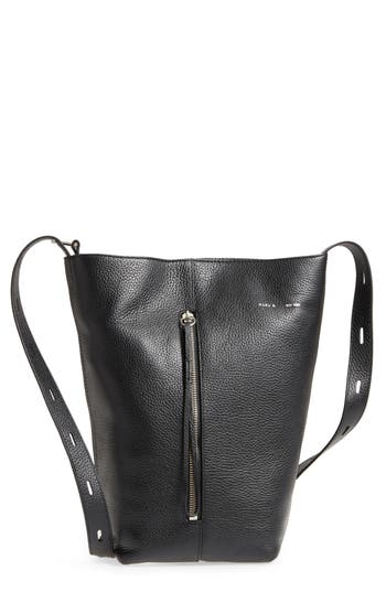 KARA Pebbled Leather Panel Pail Convertible Leather Bucket Bag