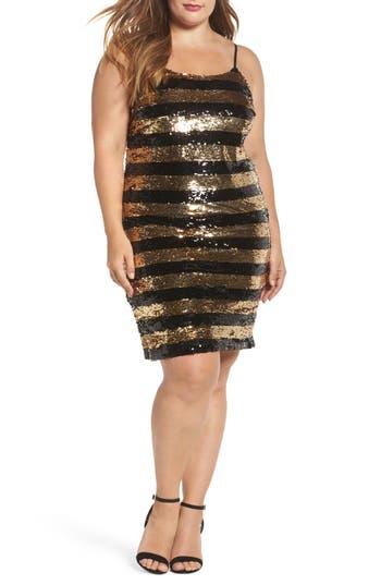 Soprano Sequin Stripe Body-Con Dress