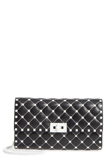 VALENTINO GARAVANI Rockstud Matelass? Leather Shoulder Bag
