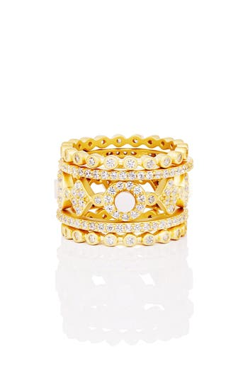 Signature Mother Of Pearl Stackable Rings by Freida Rothman