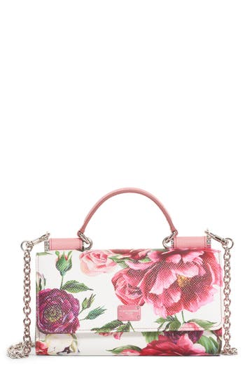 Peony Print Leather Wallet On A Chain by Dolce&Gabbana