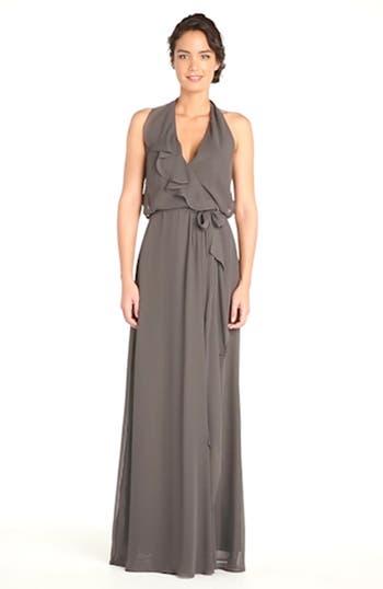 'Erica' Ruffle Chiffon Halter Neck Wrap Gown, video thumbnail