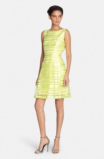 Tahari Stripe Organza Fit Amp Flare Dress Nordstrom