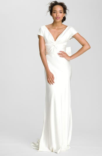 Nicole miller knot front double face silk gown nordstrom for Nicole miller wedding dresses nordstrom