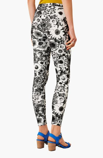 Alternate Image 2  - Topshop Dark Floral Leggings