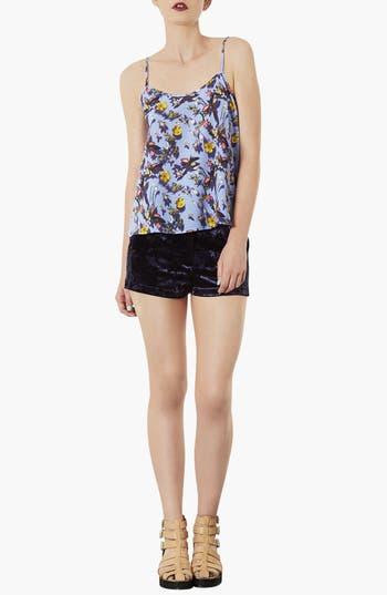 Alternate Image 3  - Topshop Crushed Velvet Shorts