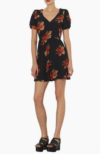 Alternate Image 1 Selected - Topshop 'Autumn Floral' Tea Dress
