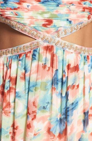 Alternate Image 3  - a. drea Floral Cutout Gown (Juniors)
