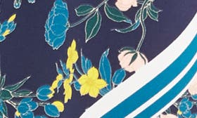 Navy- Yellow Floral Stripe swatch image
