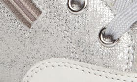 White Metallic Printed Leather swatch image