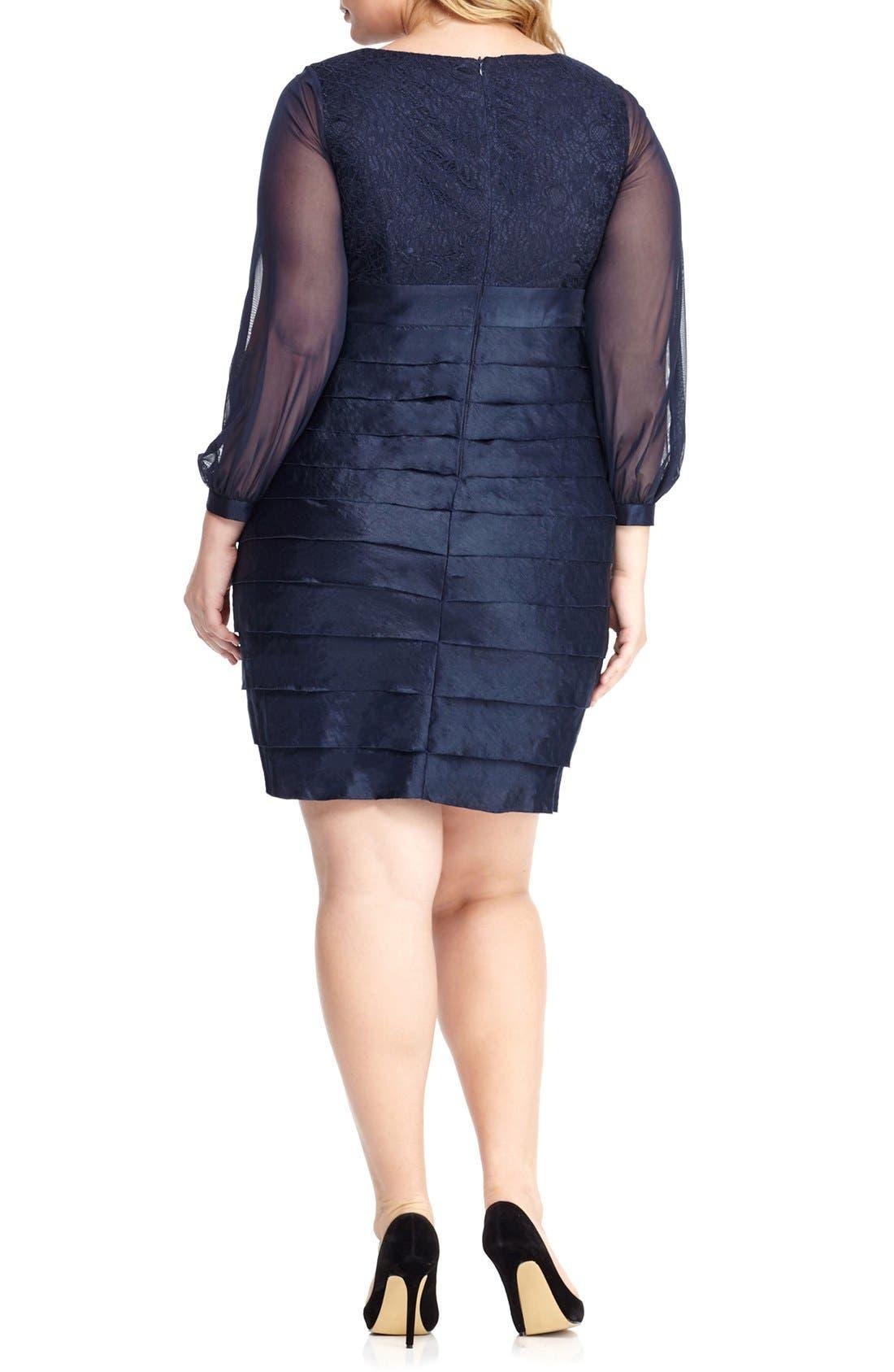 Alternate Image 2  - London Times Pleat Lace & Taffeta Sheath Dress (Plus Size)