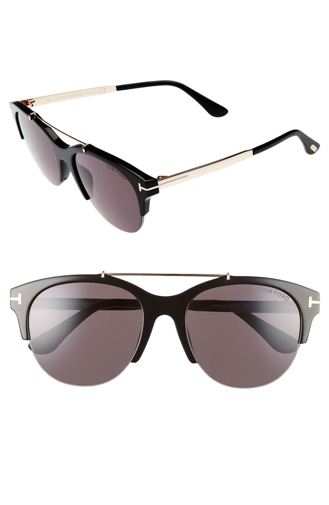 Adrenne 55mm Sunglasses,                         Main,                         color, Black/ Rose Gold/ Smoke