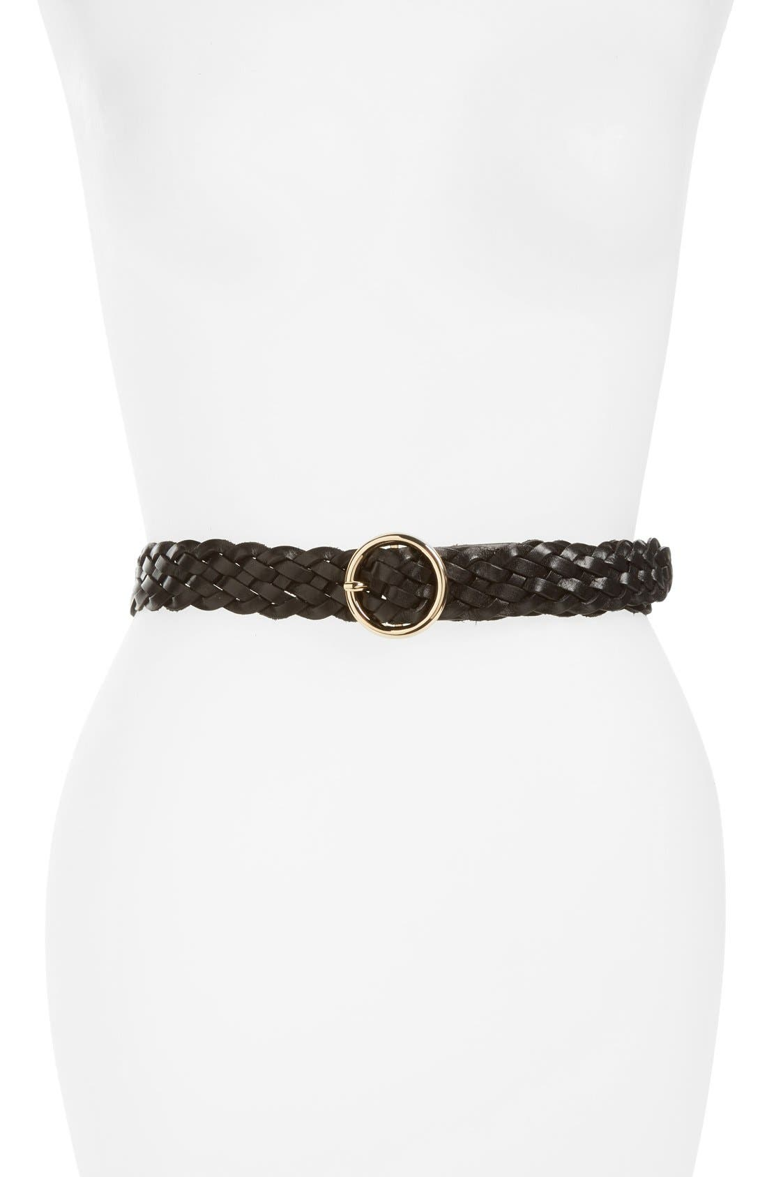 Round Buckle Braided Leather Belt,                             Main thumbnail 1, color,                             Black