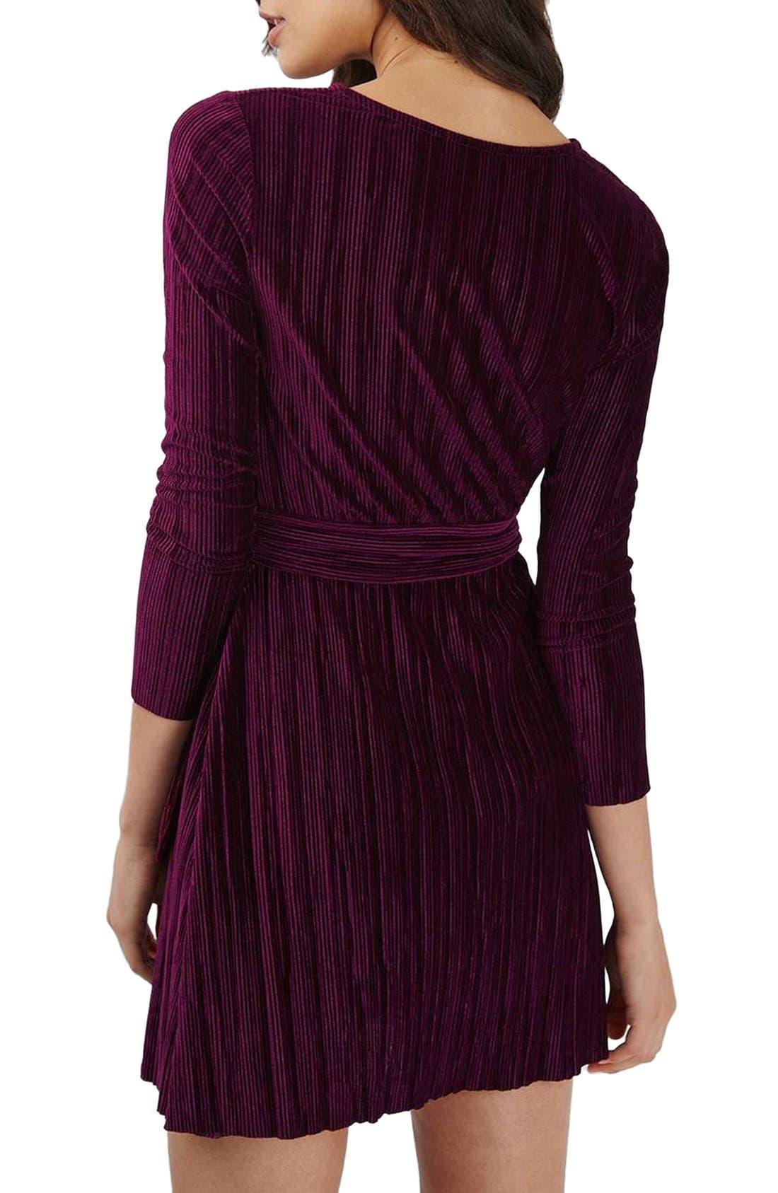 Velvet Wrap Dress,                             Alternate thumbnail 3, color,                             Wine