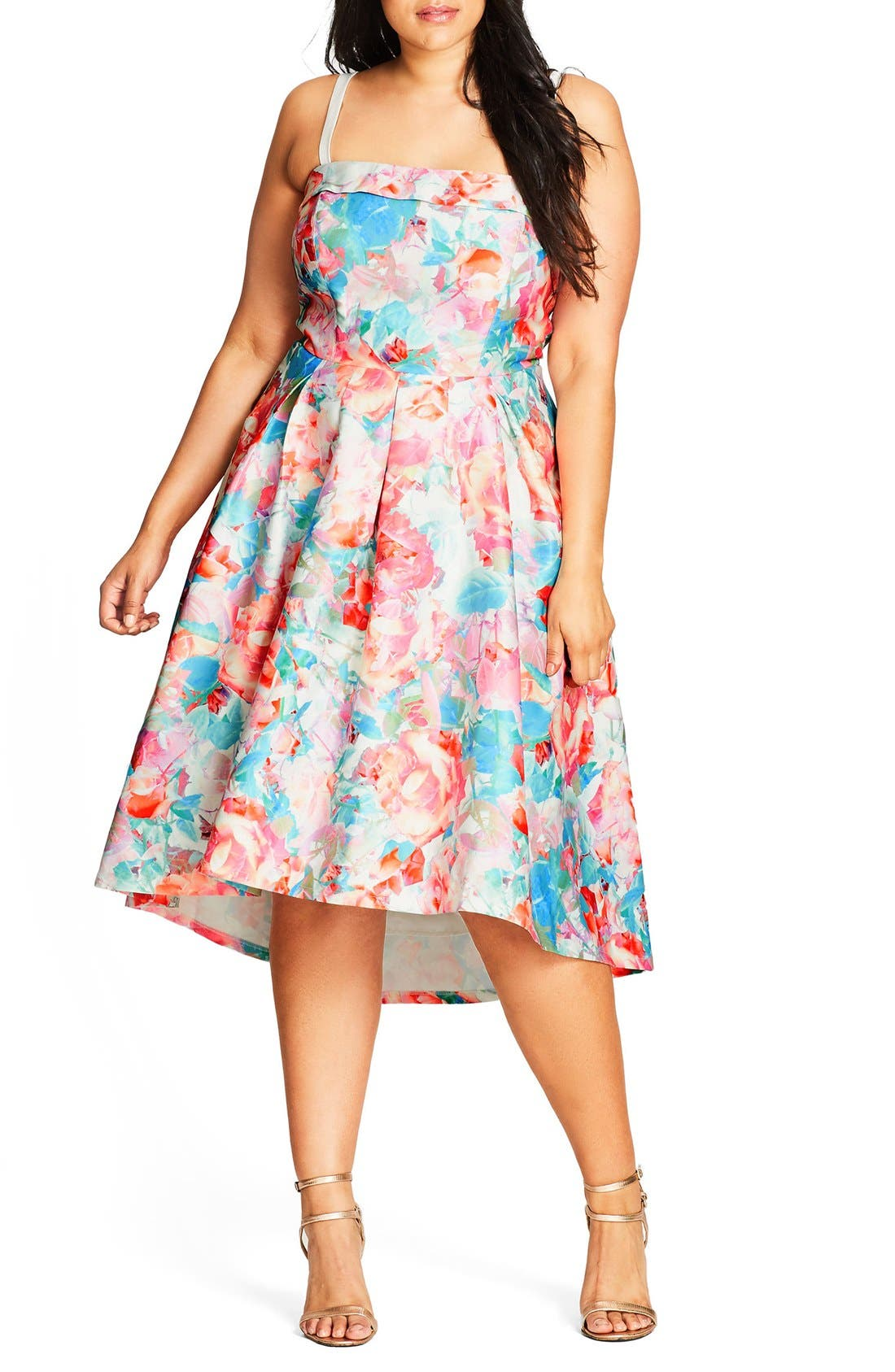 City Chic Glass Floral Fit & Flare Dress (Plus Size)
