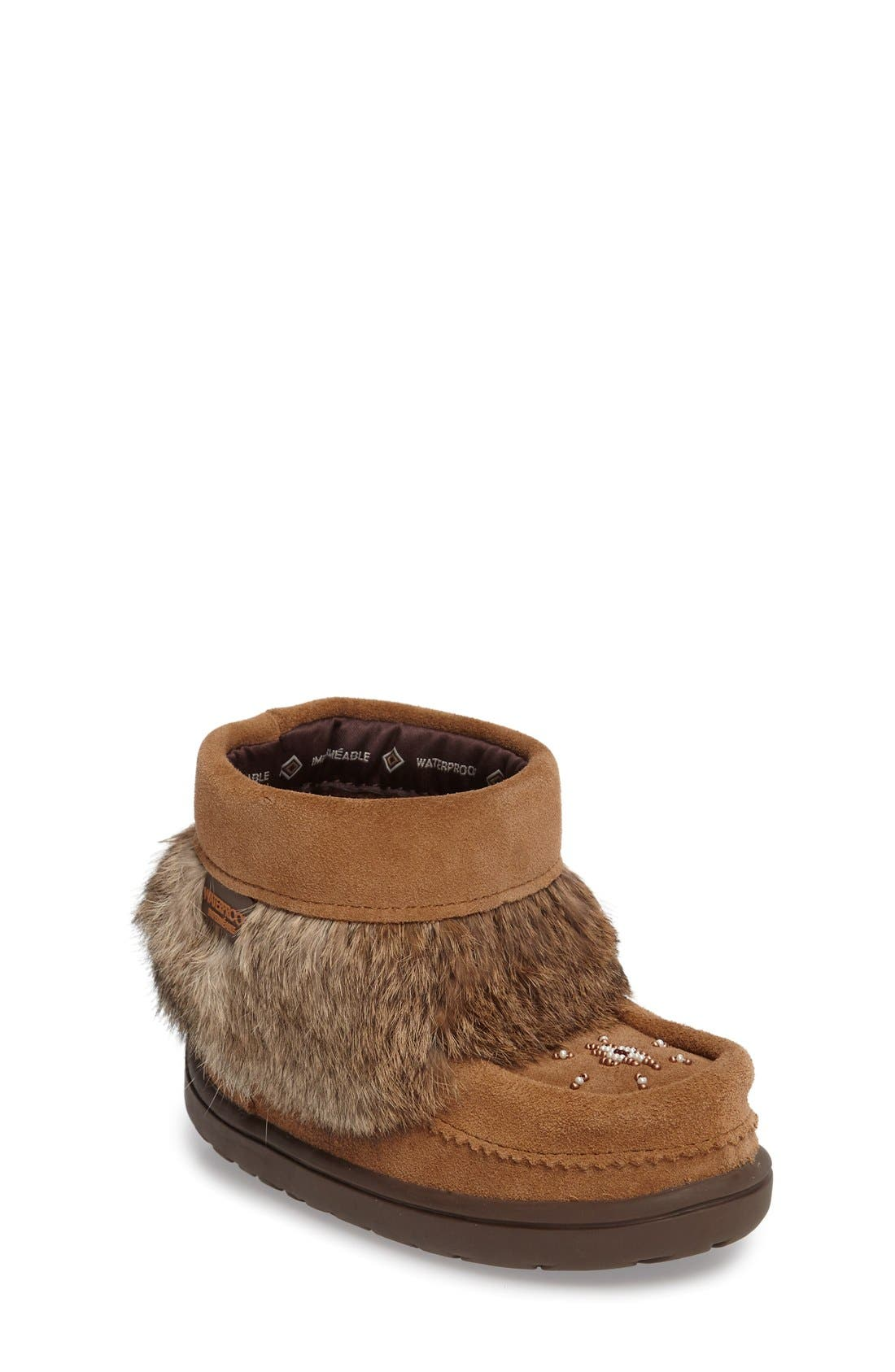 Manitobah Mukluks Snowy Owlet Genuine Fur Waterproof Boot (Walker, Toddler & Little Kid)