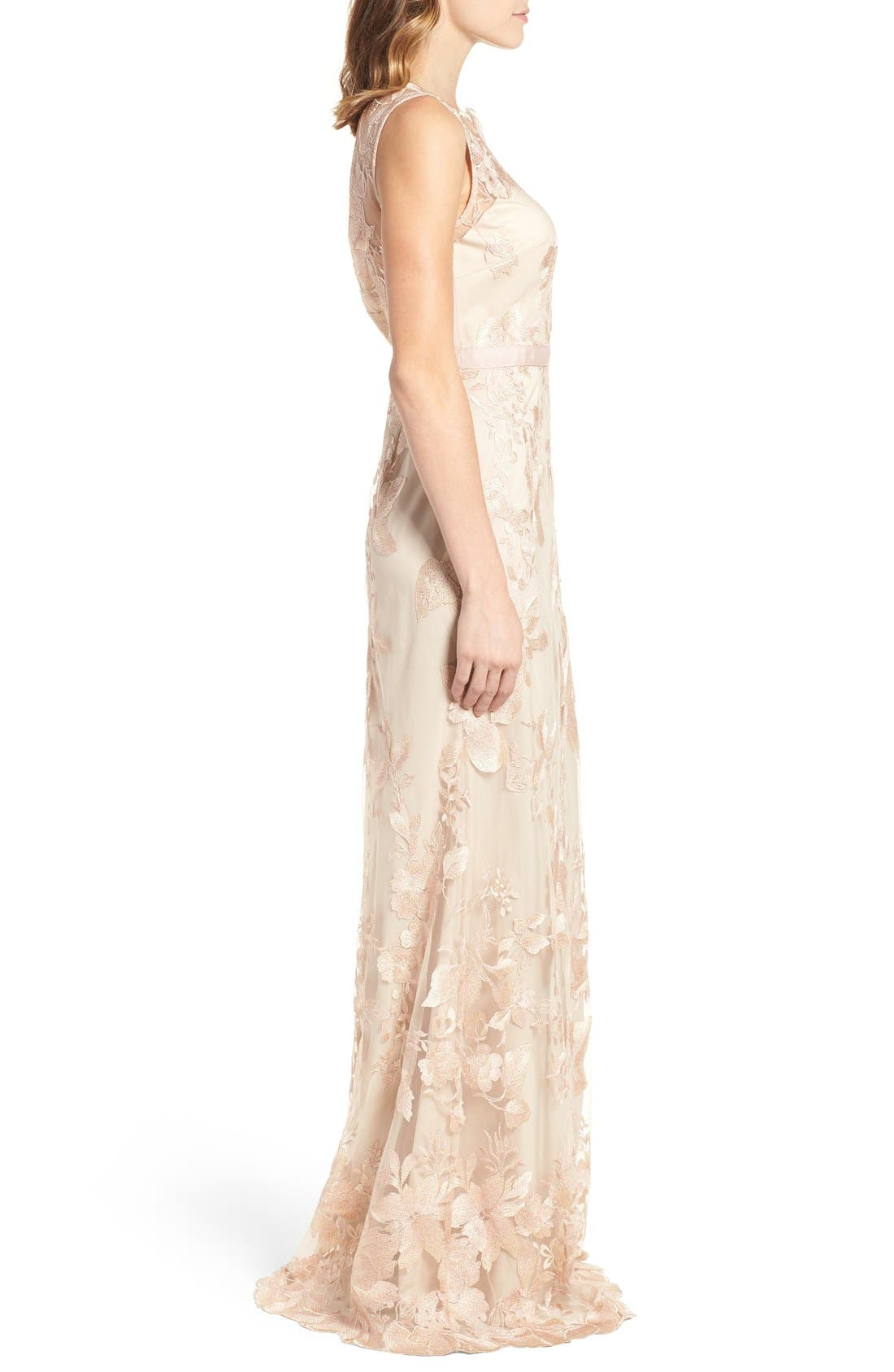 Alternate Image 3  - Adrianna Papell Sleeveless Embroidered Tulle Gown