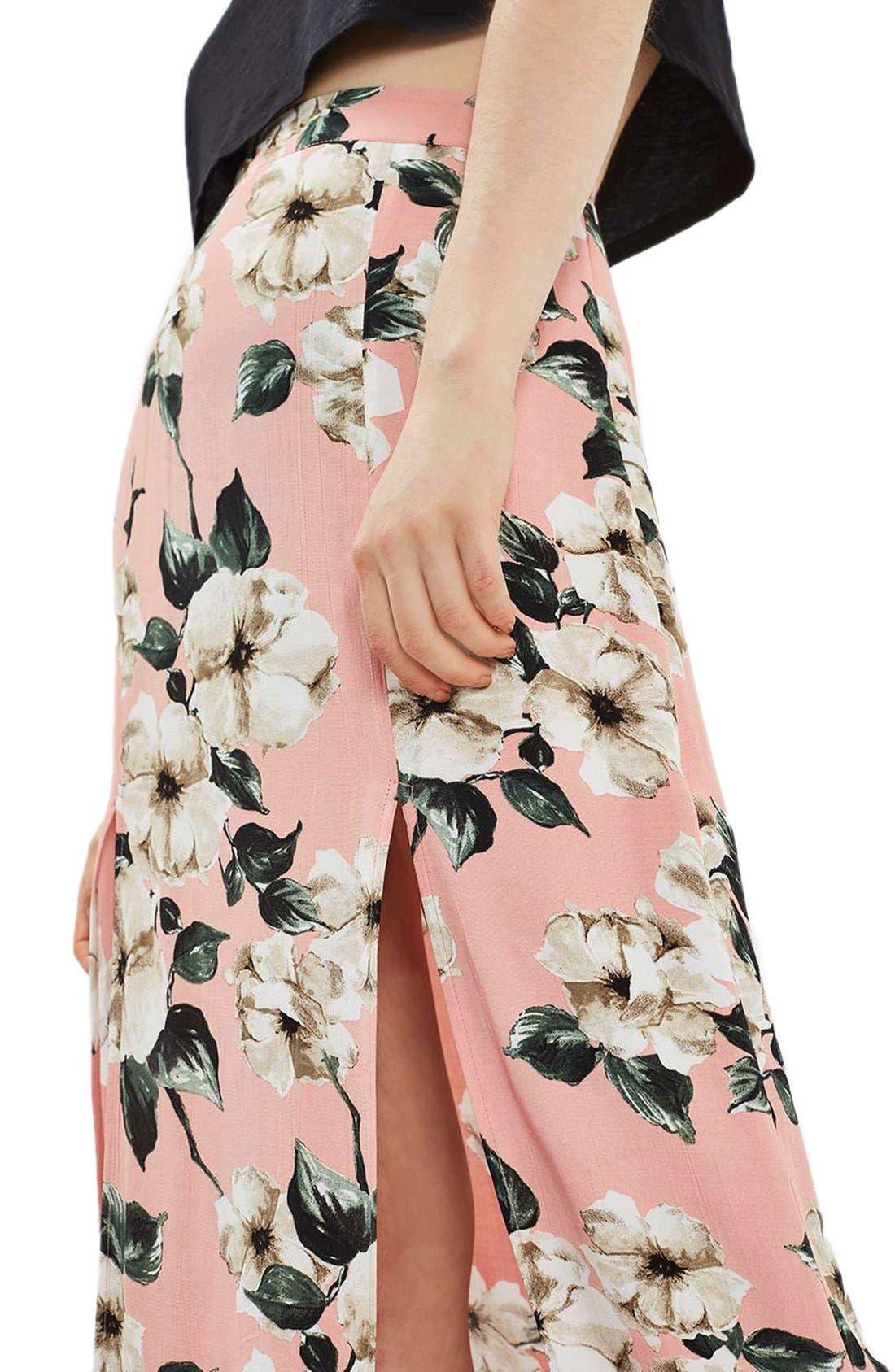 Alternate Image 5  - Topshop Sugar Flower Double Slit Maxi Skirt