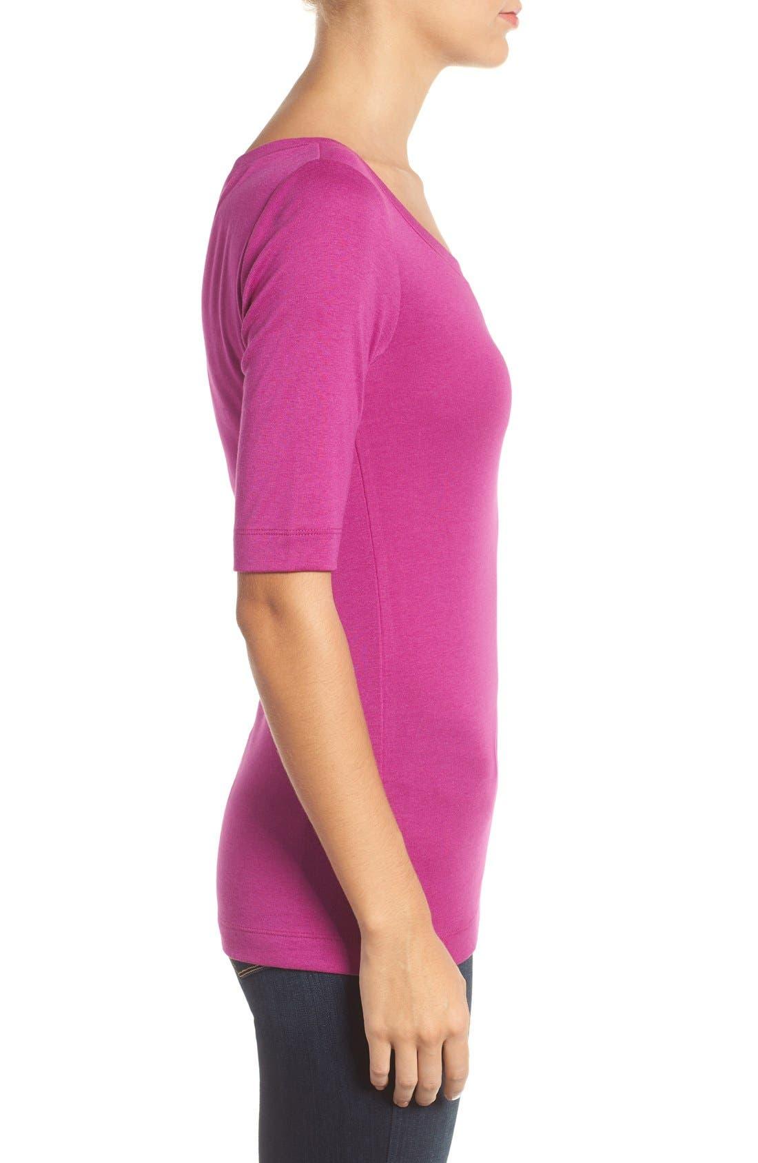 Ballet Neck Cotton & Modal Knit Elbow Sleeve Tee,                             Alternate thumbnail 4, color,                             Purple Vintner