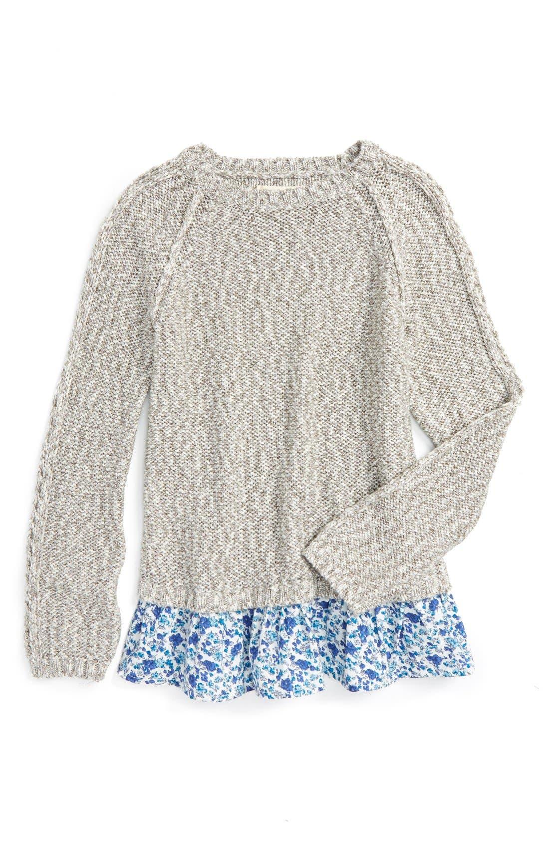 Main Image - Tucker + Tate Sparkle Ruffle Sweater (Toddler Girls, Little Girls & Big Girls)