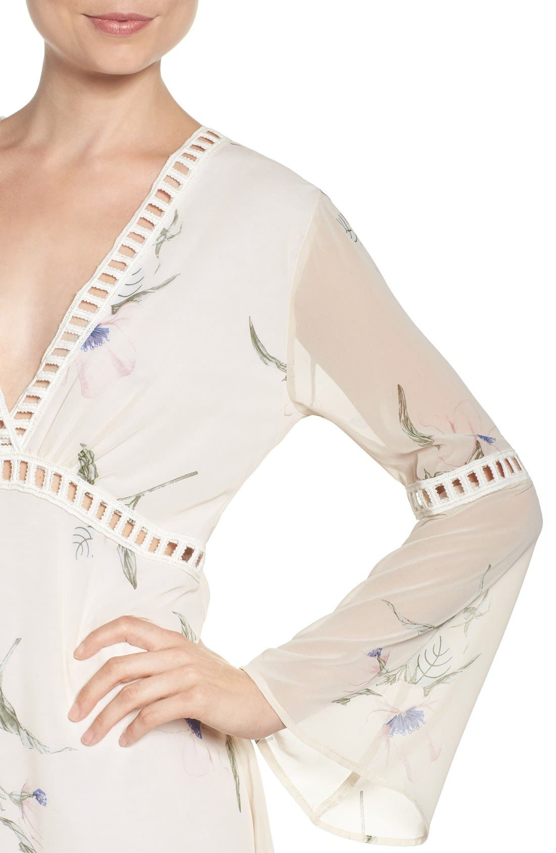 Alternate Image 5  - Fraiche by J Floral Print Chiffon Blouson Dress