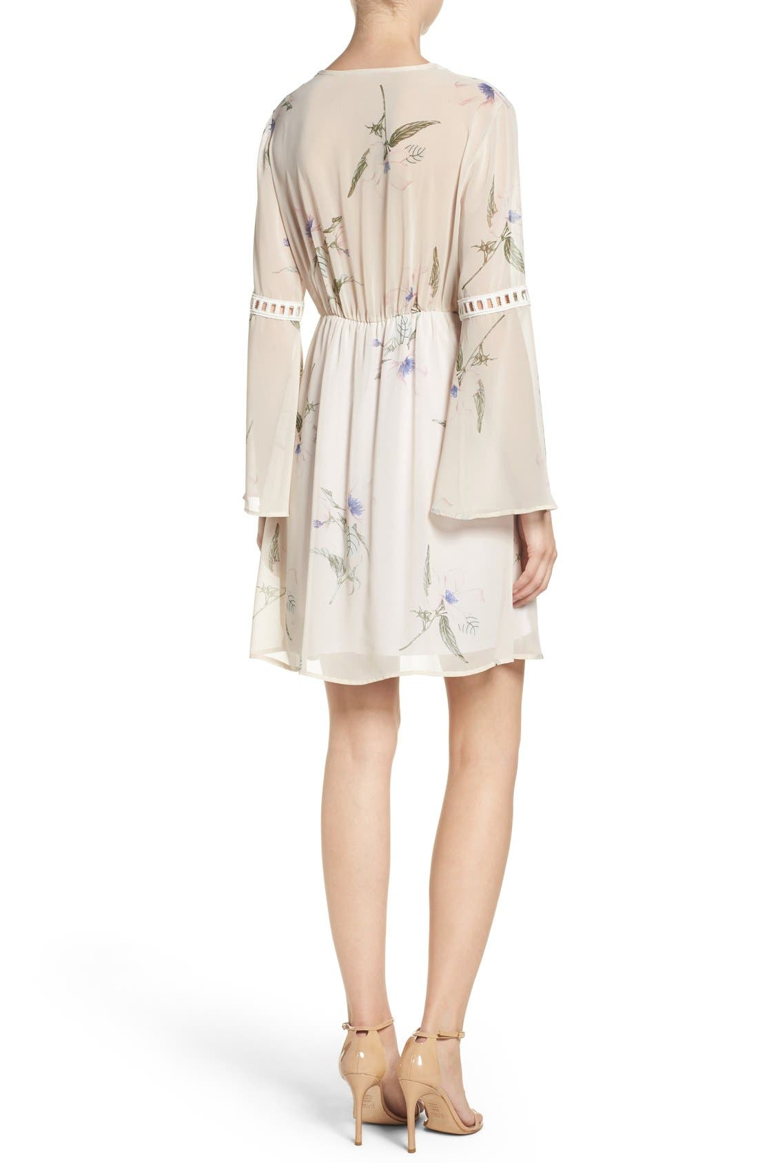 Alternate Image 2  - Fraiche by J Floral Print Chiffon Blouson Dress